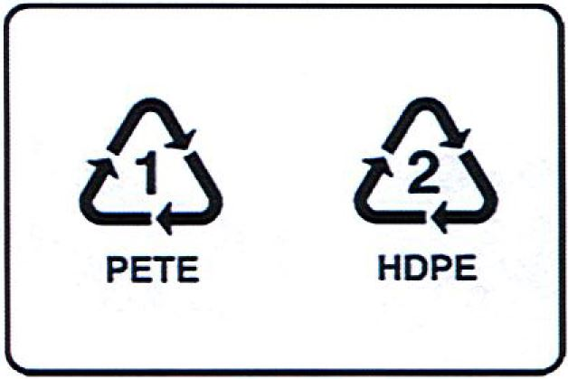 An image demonstrating the images on No. 1 and No. 2 recyclable plastics.