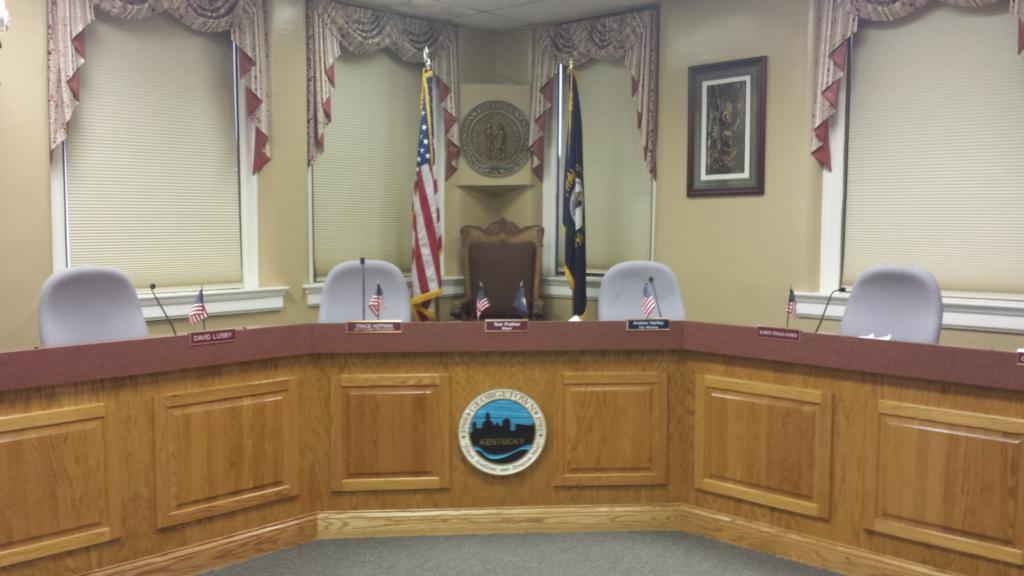A photo of the interior of the City Hall Council Chambers.